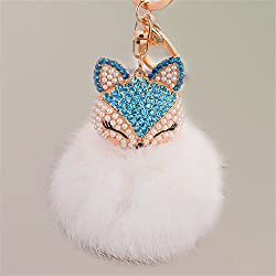 White-2 Fur Ball Keychain with Fox Head Studded with Rhinestone