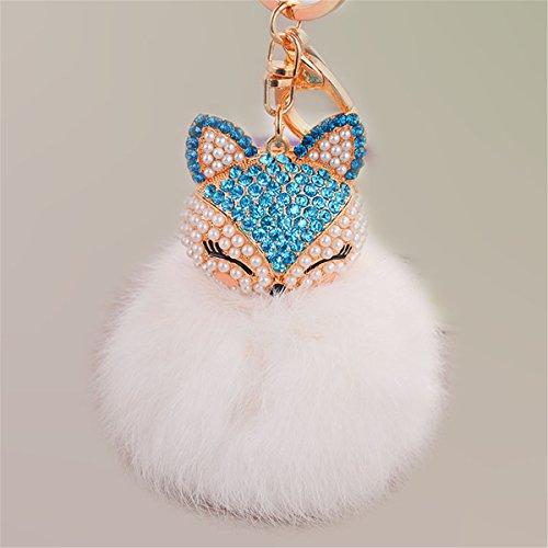 Anple Rabbit Fur Key Chain with Pearl Rhinestone Fox Head (White)