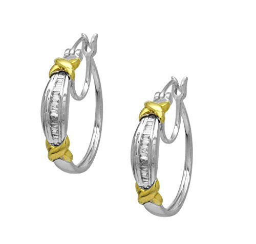 AFJewels 10k White Gold Two Tone 0.20 Cttw Diamond Earrings Hoops ()