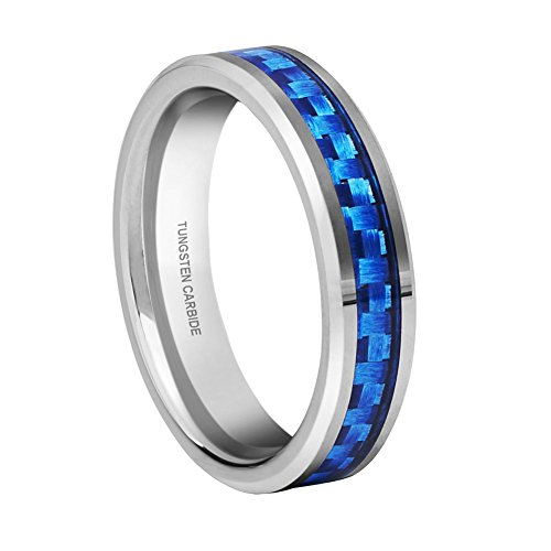 Queenwish Womens 4mm Tungsten Carbide Blue Carbon Fiber Inlay Wedding Ring Bands Comfort Fit Size 10 with Ring Box ()