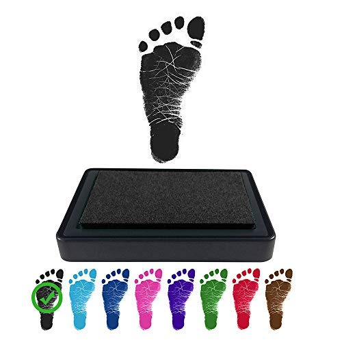 Baby Footprint Handprint Ink Pad - Create Impressive Keepsake Stamp - 100% Non-Toxic & Acid-Free Ink - Easy to Wipe/Wash Off Skin - Smudge Proof & Long Lasting Keepsakes (Black) (Inj Kit)