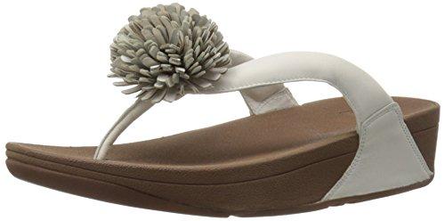 11 Womens Pom Pom - FitFlop Women's Flowerball Leather Toe-Post Flip Flop, Urban White, 11 M US
