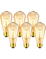 E27 LED-glödlampa 7,5 W, LVWIT ST64 antik 2500K varm vit, 865 Lm, ersätt 60 W, icke-dimbar, 6-pack, vintage retro