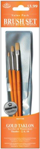 - Royal & Langnickel Royal Zip N' Close Gold Taklon Shader 3-Piece Brush Set