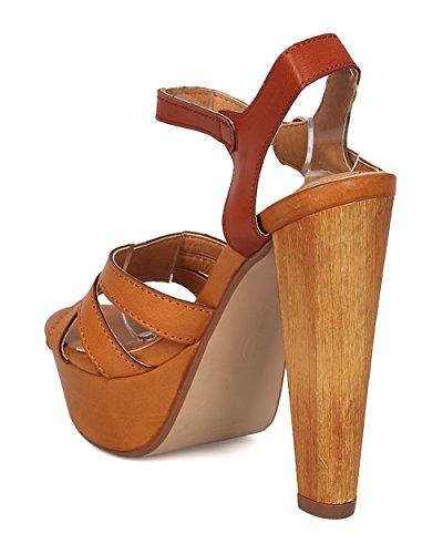 Sandalo Alrisco Donna In Similpelle Tacco Grosso - Dressy, Notte Per Le Ragazze, Festa - Cinturino Con Cinturino Alla Caviglia - Ge62 By Camel