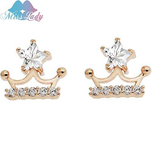 Kancus Miss Lady Crown Shinny Star Gold Color Pentagram Unique Design Stud Earrings Kancus Gifts Star for Women CK08625c08 (Kc Designs Diamond Stud)