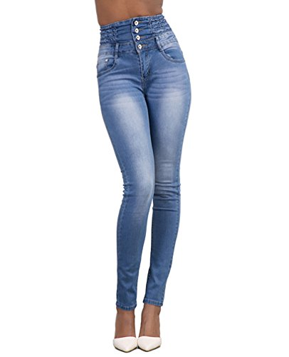 Femmes Crayon Jeans Taille lgant Dooxi Jeggings Skinny Haute Clair Pantalons Bleu Dcontracte Denim Slim Stretch Bdqwwp