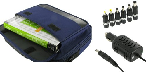 rooCase 2n1 Combo - Packard Bell 11.6-Inch Dot M Netbook Carrying Bag Case and 12v Car Charger - Dark Blue / Black Classic Series