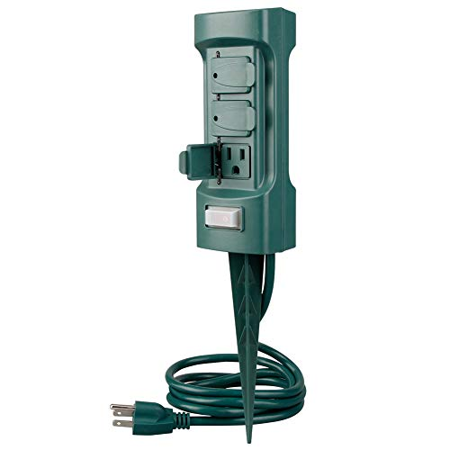 Electric Stake - Plusmart 6 Outlet Outdoor Yard Power Stake Garden, 6ft Weatherproof Extension Cord, with Covers and On Off Switch, ETL Certified