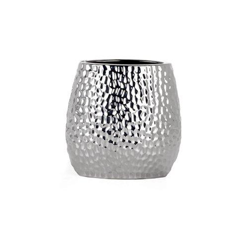 Torre & Tagus 900101 Mecca Hammered Oval Vase, Short Chrome