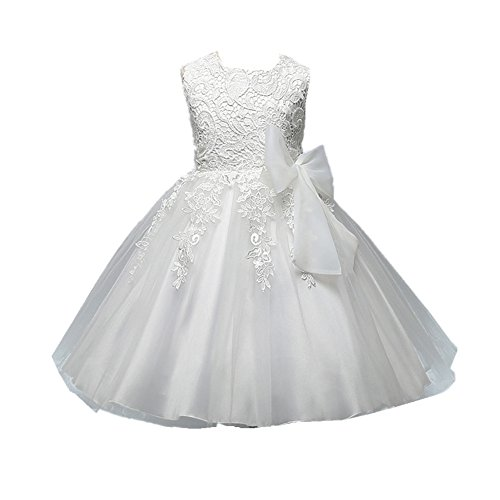 Azhido Flower Girls Dress Lace Floral Bowknot Princess Pageant Gown (2-3T, White) (Gowns Girls Flower)