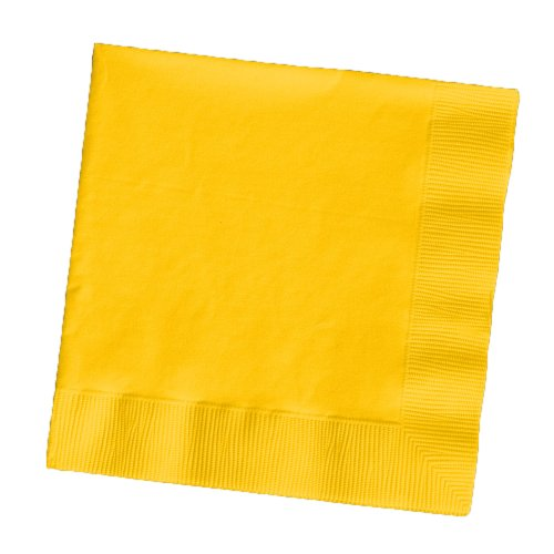 Creative Converting Touch of Color 200 Count 2-Ply Paper Beverage Napkins, School Bus - Wedding Yellow Napkins