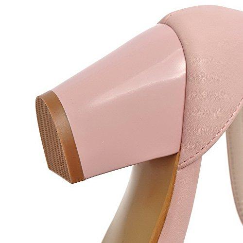 Allhqfashion Donna Tinta Unita Pu Tacchi Alti Tacco Chiuso Scarpe Con Fibbia Scarpe Rosa