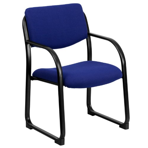 - Navy Fabric Executive Side Reception Chair with Sled Base