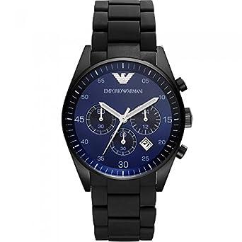 Herren EMPORIO ARMANI AR5921 schwarz Silikon Edelstahl-Quarz-Uhr