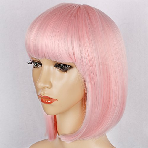 Colorful Bird Short Straight Pink Bob Wig with Flat Bangs Synthetic Wig for Women Cosplay Daily Party Wig Heat Resistant (Pink,12 inches) -