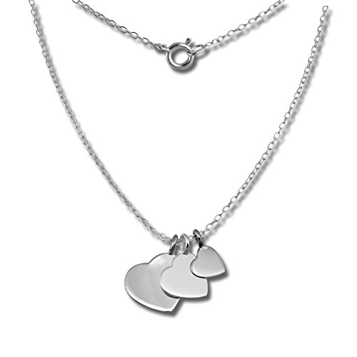 (Sterling Silver 925, SilberDream fine necklase with 3 silver hearts pendants, 925 Sterling Silver, 17.71 inch SDK8001J)