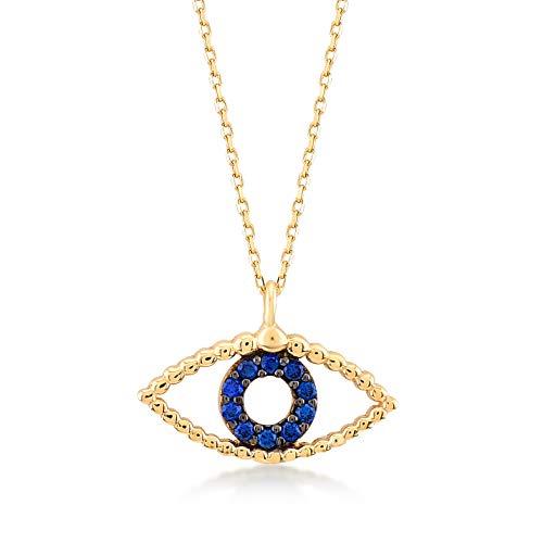 GELIN 14k Yellow Gold Greek Evil Eye Pendant Chain Necklace for Women, 18