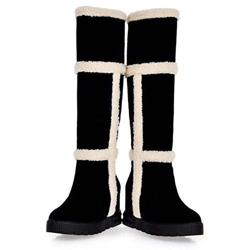 LongFengMa Women's Wedge Heel Sweet Snow Boots Black KR7r9LtB