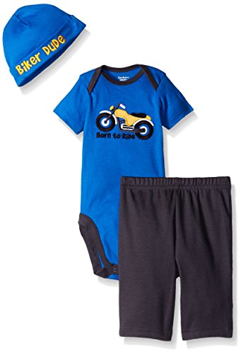 Gerber Baby Three-Piece Bodysuit, Cap, and Pant Set, Motorcycle, 6-9 Months