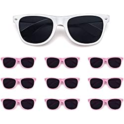 10 Pack Bride and Bridesmaid Sunglasses,Perfect for Bachelorette Party,Wedding,Bridal Party (9 pink+1 white)
