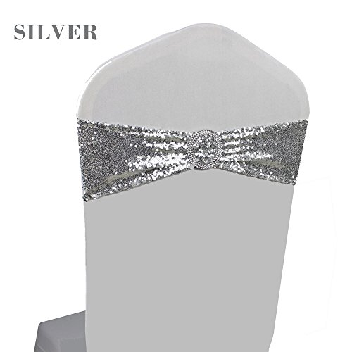 100PCS Wedding Party Sequin Chair Sash Bands With Round Buckle Slider Sashes Bow Chair Decoration (Silver Sequin Band)