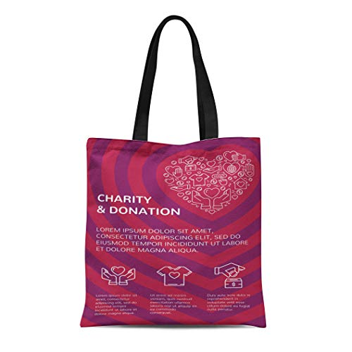Semtomn Canvas Tote Bag Shoulder Bags Charity and Donation Graphic Flat in Heart Form Women's Handle Shoulder Tote Shopper Handbag (Best Crowdfunding For Nonprofits)