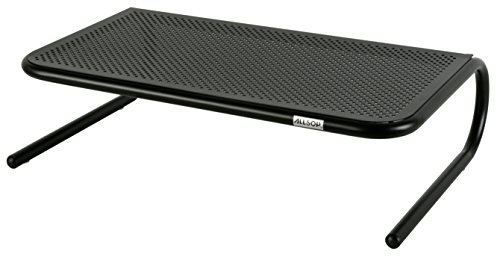 - Allsop Large Metal Art Monitor Stand, 18-Inch wide platform holds 50 lbs with keyboard storage space - Black (30336)