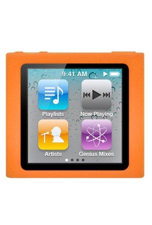 Premium Orange Soft Silicon Gel Skin Case Cover for the Apple iPod Nano 6 Gen (Nano Case Ipod Orange)