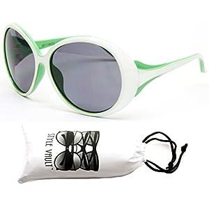Kd31-vp toddler Kids Childrens girls (1~4year old) Round oversize Sunglasses (11080 White/green, Uv400)