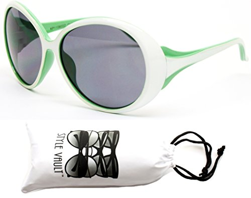 Kd31-vp toddler Kids Childrens girls (1~4year old) Round oversize Sunglasses (11080 White/green, - Sunglasses 1950s