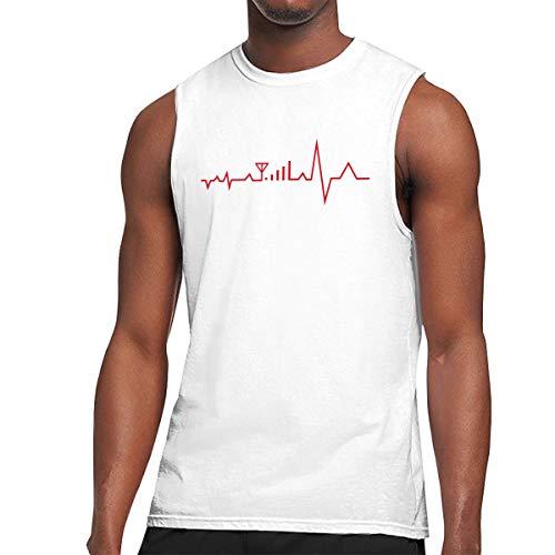Men's Muscle Tank Top Softball ECG Heart Beat Gym Training-Tech Running Activewear White ()