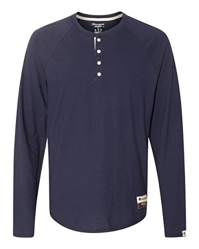 Champion Men's Authentic Originals Long Sleeve Henley, Navy, (Navy Authentic Collection)