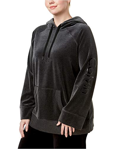 Calvin Klein Women's Performance Plus Size Velour Logo Hoodie Slate Heather 1X