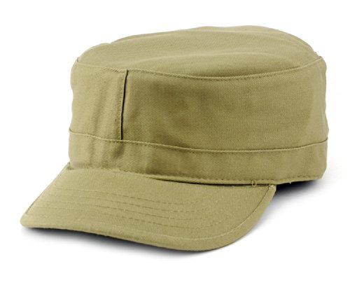 - NYFASHION101 Fashionable Solid Color Unisex Fitted Army Military Cadet Cap, Khaki, S