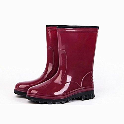 Sra. Botas de lluvia / zapatos de lavado de automóviles / botas de lluvia de tubo de goma / slip overshoes resistentes al desgaste / vino rojo