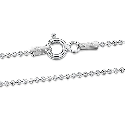 Amberta 925 Sterling Silver 1.2 mm Ball Bead Chain Necklace Length 18