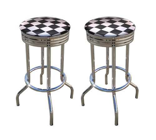 2 MAN CAVE Nascar Checker Racing Flag 29'' Specialty Chrome Barstools Bar Stools -