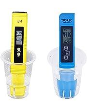 CUHAWUDBA 2 pz digitale 0,0-14,0 PH metro tester 0-9990Ppm digitale TDS EC LCD purezza dell'acqua PPM filtro per acquario