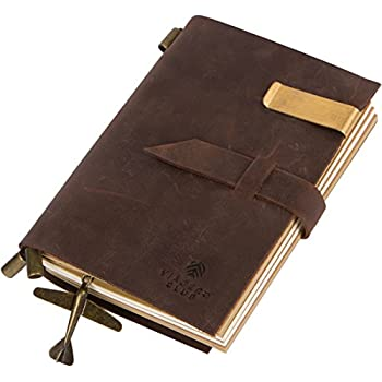 Genuine Leather Travel Journal and Handmade Diary with Refillable Notebooks (180 Pages), 5.9 x 4.1 Inches, Vintage Coffee Brown, Perfect Gift for Men and Women