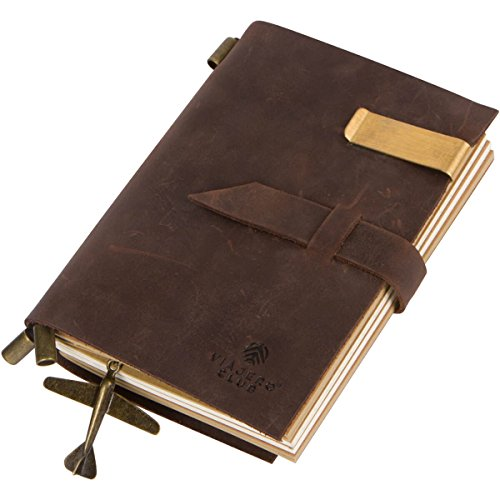 Refillable Leather Bound Travel Journal and Handmade Antique Diary with Writing Notebooks (180 Pages), Small Size 5.9 x 4.1 Inches, Vintage Brown, Top Graduation and Holiday Gift for Men and Women
