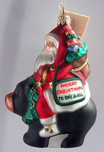 Jennifer Ellsworth Landmarks The Lynn Haney Collection Santa on the Black Bear Glass Ornament - Mall Lynn