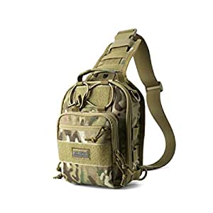 ZRWJ Tactical Backpack, Men's Casual Outdoor Nylon Sports Riding Camouflage Shoulder Slung Multi-Function Tactical Backpack, Black (Color : Camouflage Color)