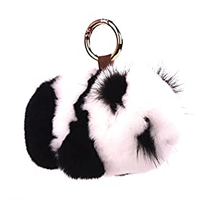 KUMEED Real Rex Rabbit Bunny Pom Pom Keychain Easter Rabbit Fur Fluffy Cute Keychain Key Ring Pendant Key Chains for Women Girl Bag Handbag Car Decoration