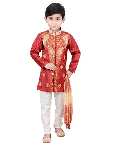 Klaud Zee Kids Ethnic Baby Boys Festive and Party Wear Sherwani and Breeches Set for boys (5-6 Years, Maroon)