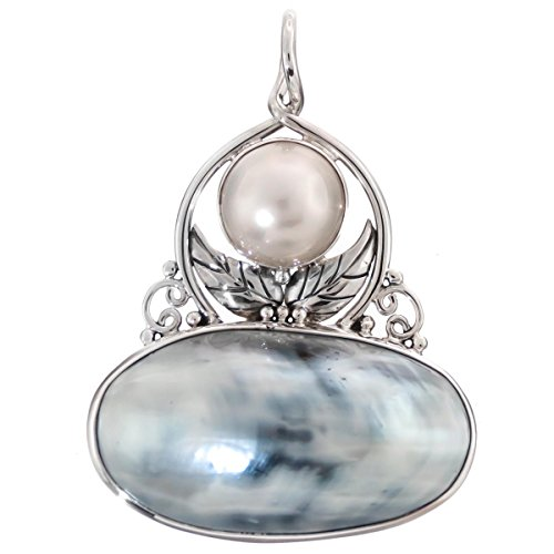 Blue Silver-tone Nautilus Shell Mabe Cultured Pearl 925 Sterling Silver Pendant, 2 1/8