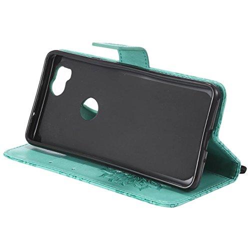 LEMORRY Handyhülle Google Pixel 2 Hülle Tasche Ledertasche Beutel Haut Schutz Magnetisch SchutzHülle Weich Silikon Cover Schale für Google Pixel 2, Blühen (Lila) Grün