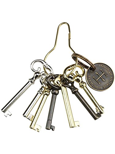House of Antique Hardware R-08HH-BK-7 - Ring of 7 Unique Decorative Antique Style Barrel Keys