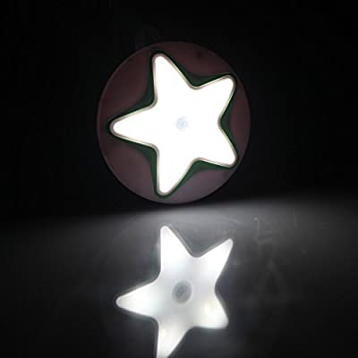 5 LED Star Shaped, Green BoxCave 5 Led Silver Star Style Wireless 0.45W Sensitive PIR induction Night Light Human Body Sensor Automatic Motion Sensor Lamp with BoxCave Microfiber Cleaning Cloth
