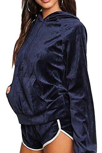 Navy Blue Tracksuit (Women Casual 2 Pieces Velvet Fleeced Hoodies Sweatshirt Shorts Sport Tracksuits Sets Navy Blue X Large)